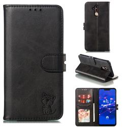 Embossing Happy Cat Leather Wallet Case for Huawei Mate 20 Lite - Black