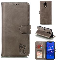 Embossing Happy Cat Leather Wallet Case for Huawei Mate 20 Lite - Gray