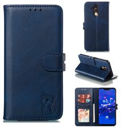 Embossing Happy Cat Leather Wallet Case for Huawei Mate 20 Lite - Blue