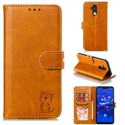 Embossing Happy Cat Leather Wallet Case for Huawei Mate 20 Lite - Yellow