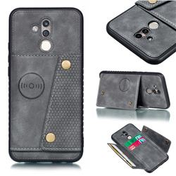Retro Multifunction Card Slots Stand Leather Coated Phone Back Cover for Huawei Mate 20 Lite - Gray