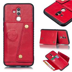 Retro Multifunction Card Slots Stand Leather Coated Phone Back Cover for Huawei Mate 20 Lite - Red