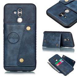 Retro Multifunction Card Slots Stand Leather Coated Phone Back Cover for Huawei Mate 20 Lite - Blue