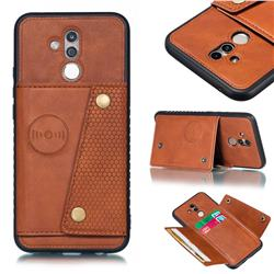 Retro Multifunction Card Slots Stand Leather Coated Phone Back Cover for Huawei Mate 20 Lite - Brown
