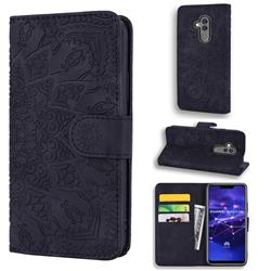 Retro Embossing Mandala Flower Leather Wallet Case for Huawei Mate 20 Lite - Black