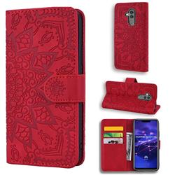 Retro Embossing Mandala Flower Leather Wallet Case for Huawei Mate 20 Lite - Red