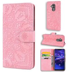 Retro Embossing Mandala Flower Leather Wallet Case for Huawei Mate 20 Lite - Pink