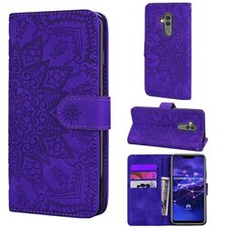 Retro Embossing Mandala Flower Leather Wallet Case for Huawei Mate 20 Lite - Purple