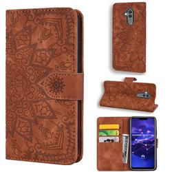 Retro Embossing Mandala Flower Leather Wallet Case for Huawei Mate 20 Lite - Brown