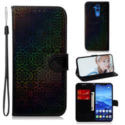 Laser Circle Shining Leather Wallet Phone Case for Huawei Mate 20 Lite - Black