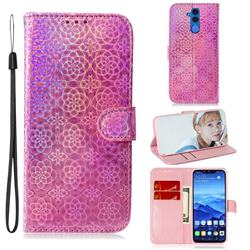 Laser Circle Shining Leather Wallet Phone Case for Huawei Mate 20 Lite - Pink