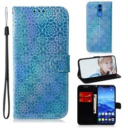 Laser Circle Shining Leather Wallet Phone Case for Huawei Mate 20 Lite - Blue