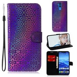 Laser Circle Shining Leather Wallet Phone Case for Huawei Mate 20 Lite - Purple
