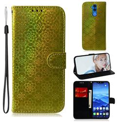 Laser Circle Shining Leather Wallet Phone Case for Huawei Mate 20 Lite - Golden