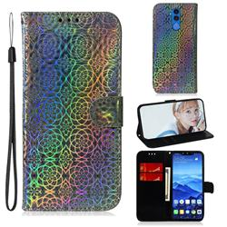 Laser Circle Shining Leather Wallet Phone Case for Huawei Mate 20 Lite - Silver