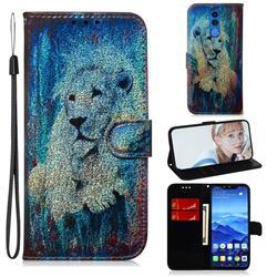 White Lion Laser Shining Leather Wallet Phone Case for Huawei Mate 20 Lite