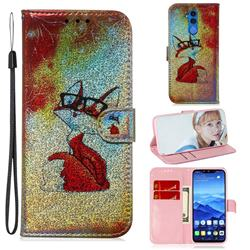 Glasses Fox Laser Shining Leather Wallet Phone Case for Huawei Mate 20 Lite