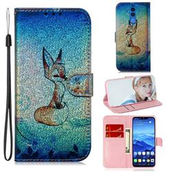 Cute Fox Laser Shining Leather Wallet Phone Case for Huawei Mate 20 Lite
