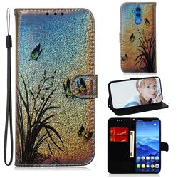 Butterfly Orchid Laser Shining Leather Wallet Phone Case for Huawei Mate 20 Lite