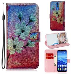 Magnolia Laser Shining Leather Wallet Phone Case for Huawei Mate 20 Lite
