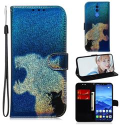Cat and Leopard Laser Shining Leather Wallet Phone Case for Huawei Mate 20 Lite