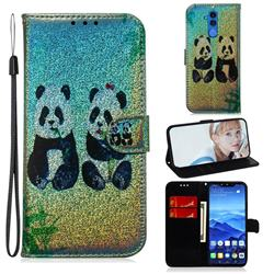 Two Pandas Laser Shining Leather Wallet Phone Case for Huawei Mate 20 Lite
