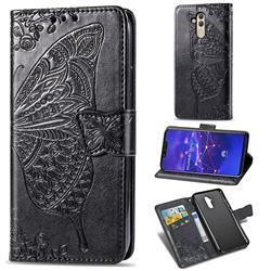 Embossing Mandala Flower Butterfly Leather Wallet Case for Huawei Mate 20 Lite - Black