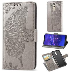 Embossing Mandala Flower Butterfly Leather Wallet Case for Huawei Mate 20 Lite - Gray