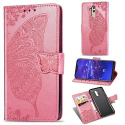 Embossing Mandala Flower Butterfly Leather Wallet Case for Huawei Mate 20 Lite - Pink