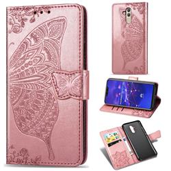 Embossing Mandala Flower Butterfly Leather Wallet Case for Huawei Mate 20 Lite - Rose Gold