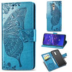 Embossing Mandala Flower Butterfly Leather Wallet Case for Huawei Mate 20 Lite - Blue