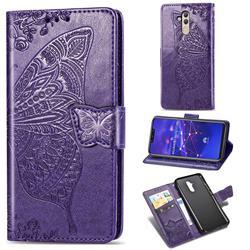 Embossing Mandala Flower Butterfly Leather Wallet Case for Huawei Mate 20 Lite - Dark Purple