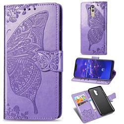Embossing Mandala Flower Butterfly Leather Wallet Case for Huawei Mate 20 Lite - Light Purple