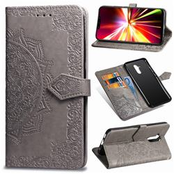 Embossing Imprint Mandala Flower Leather Wallet Case for Huawei Mate 20 Lite - Gray