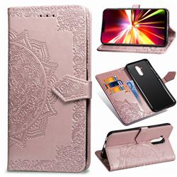 Embossing Imprint Mandala Flower Leather Wallet Case for Huawei Mate 20 Lite - Rose Gold