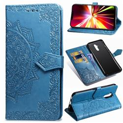 Embossing Imprint Mandala Flower Leather Wallet Case for Huawei Mate 20 Lite - Blue