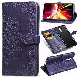 Embossing Imprint Mandala Flower Leather Wallet Case for Huawei Mate 20 Lite - Purple