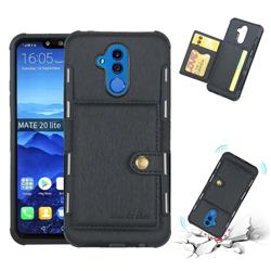 Brush Multi-function Leather Phone Case for Huawei Mate 20 Lite - Black