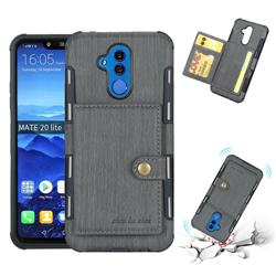 Brush Multi-function Leather Phone Case for Huawei Mate 20 Lite - Gray