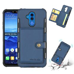 Brush Multi-function Leather Phone Case for Huawei Mate 20 Lite - Blue