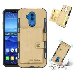 Brush Multi-function Leather Phone Case for Huawei Mate 20 Lite - Golden
