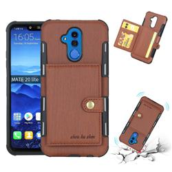 Brush Multi-function Leather Phone Case for Huawei Mate 20 Lite - Brown
