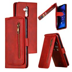 Multifunction 9 Cards Leather Zipper Wallet Phone Case for Huawei Mate 20 Lite - Red