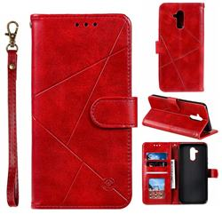 Embossing Geometric Leather Wallet Case for Huawei Mate 20 Lite - Red
