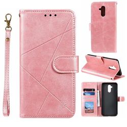Embossing Geometric Leather Wallet Case for Huawei Mate 20 Lite - Rose Gold