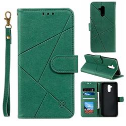 Embossing Geometric Leather Wallet Case for Huawei Mate 20 Lite - Green