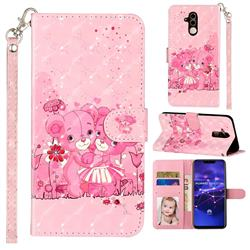 Pink Bear 3D Leather Phone Holster Wallet Case for Huawei Mate 20 Lite