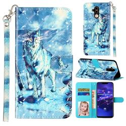 Snow Wolf 3D Leather Phone Holster Wallet Case for Huawei Mate 20 Lite