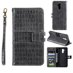 Luxury Crocodile Magnetic Leather Wallet Phone Case for Huawei Mate 20 Lite - Gray