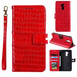 Luxury Crocodile Magnetic Leather Wallet Phone Case for Huawei Mate 20 Lite - Red